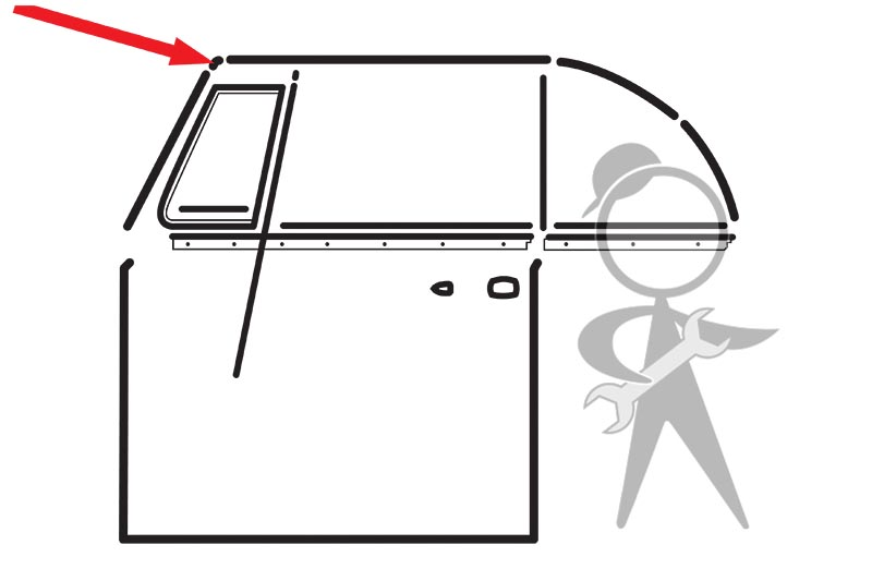 Bug Convertible Front Header Bow Seal